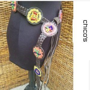 Chico's leather boho belt M/L